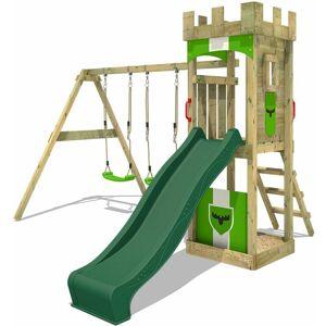 FATMOOSE Aire de jeux Portique bois TreasureTower avec balançoire et