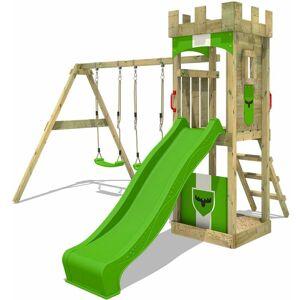 Fatmoose Aire de jeux Portique bois TreasureTower avec balançoire et toboggan