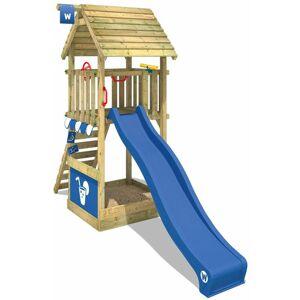 WICKEY Aire de jeux Portique bois Smart Club HD avec toboggan bleu Maison