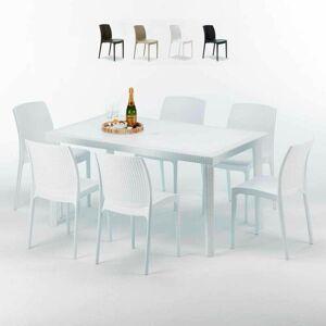 GRAND SOLEIL Table Rectangulaire Blanche 150x90cm Avec 6 Chaises Colorées Grand