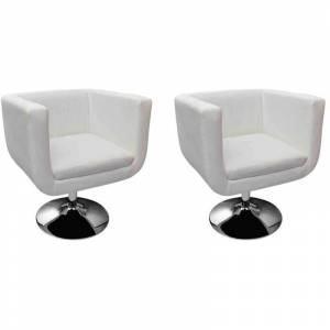 VIDAXL 2x Chaises de Bar Similicuir Blanc - VIDAXL