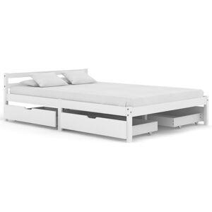 vidaXL Cadre de lit avec 4 tiroirs Blanc Bois de pin massif 140x200 cm