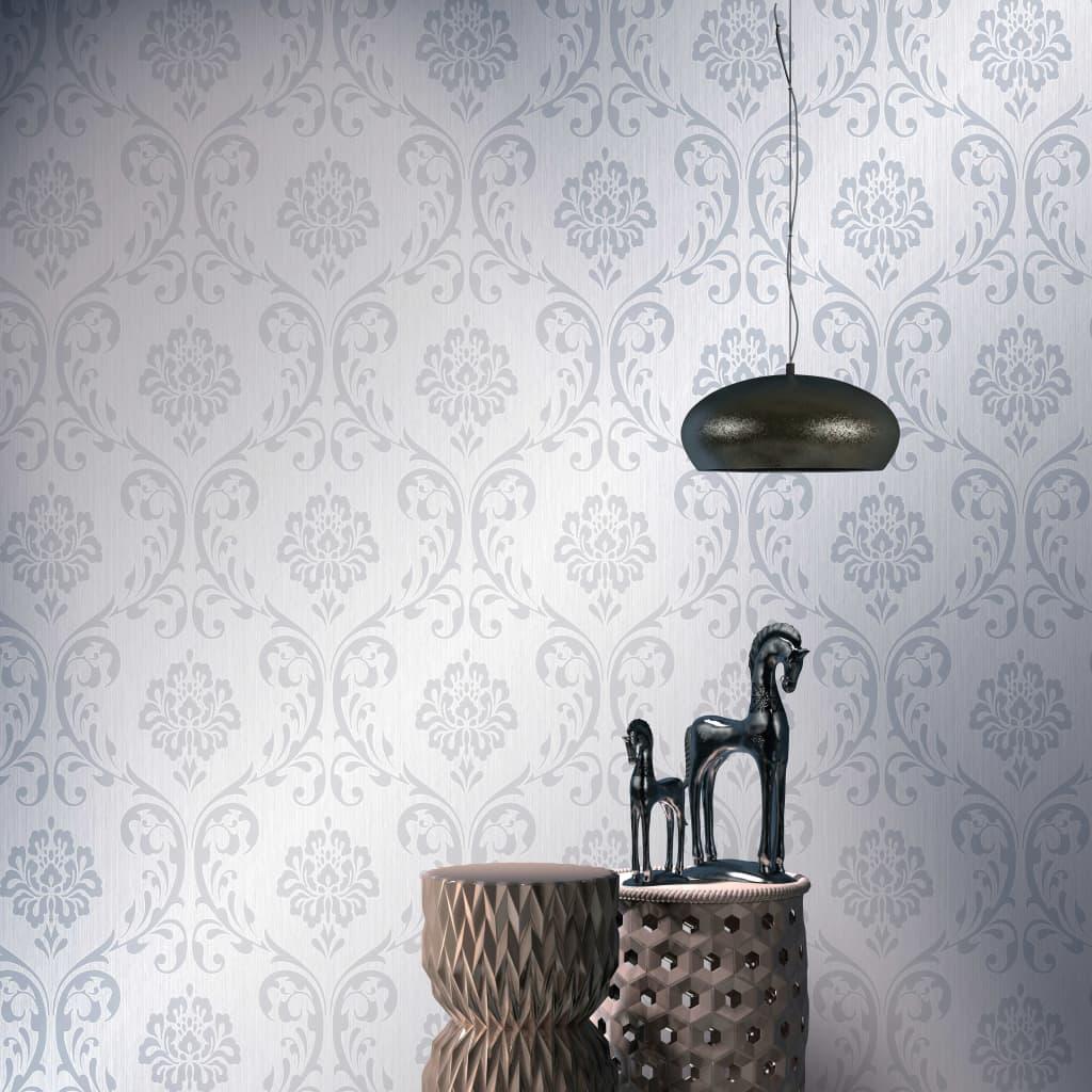 vidaXL Rouleaux de papier peint 4 pcs Blanc 0,53x10 m Ornement