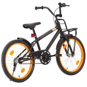 vidaXL Vélo d'enfant avec porte-bagages avant 20 pouces Noir et orange