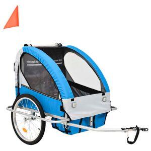 vidaXL Remorque à vélo et poussette pour enfants 2-en-1 Bleu et gris