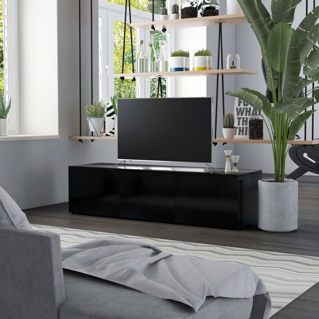 vidaXL Meuble TV Noir 120x34x30 cm Aggloméré