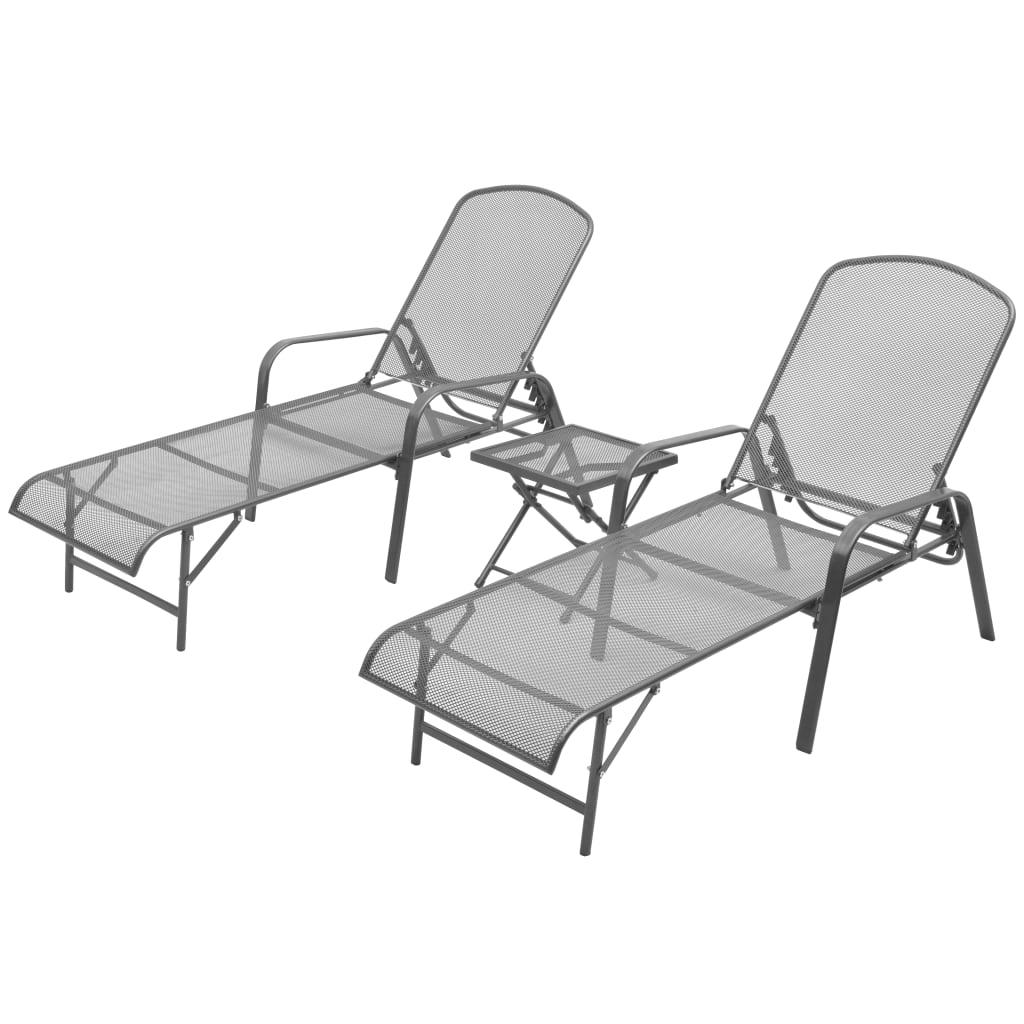 vidaXL Chaises longues 2 pcs avec table Acier Anthracite