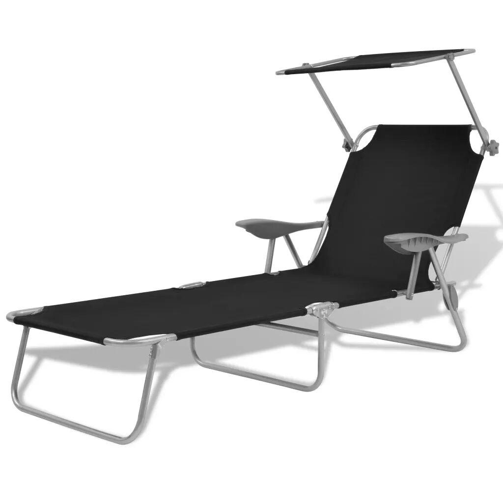 vidaXL Chaise longue avec auvent Acier Noir