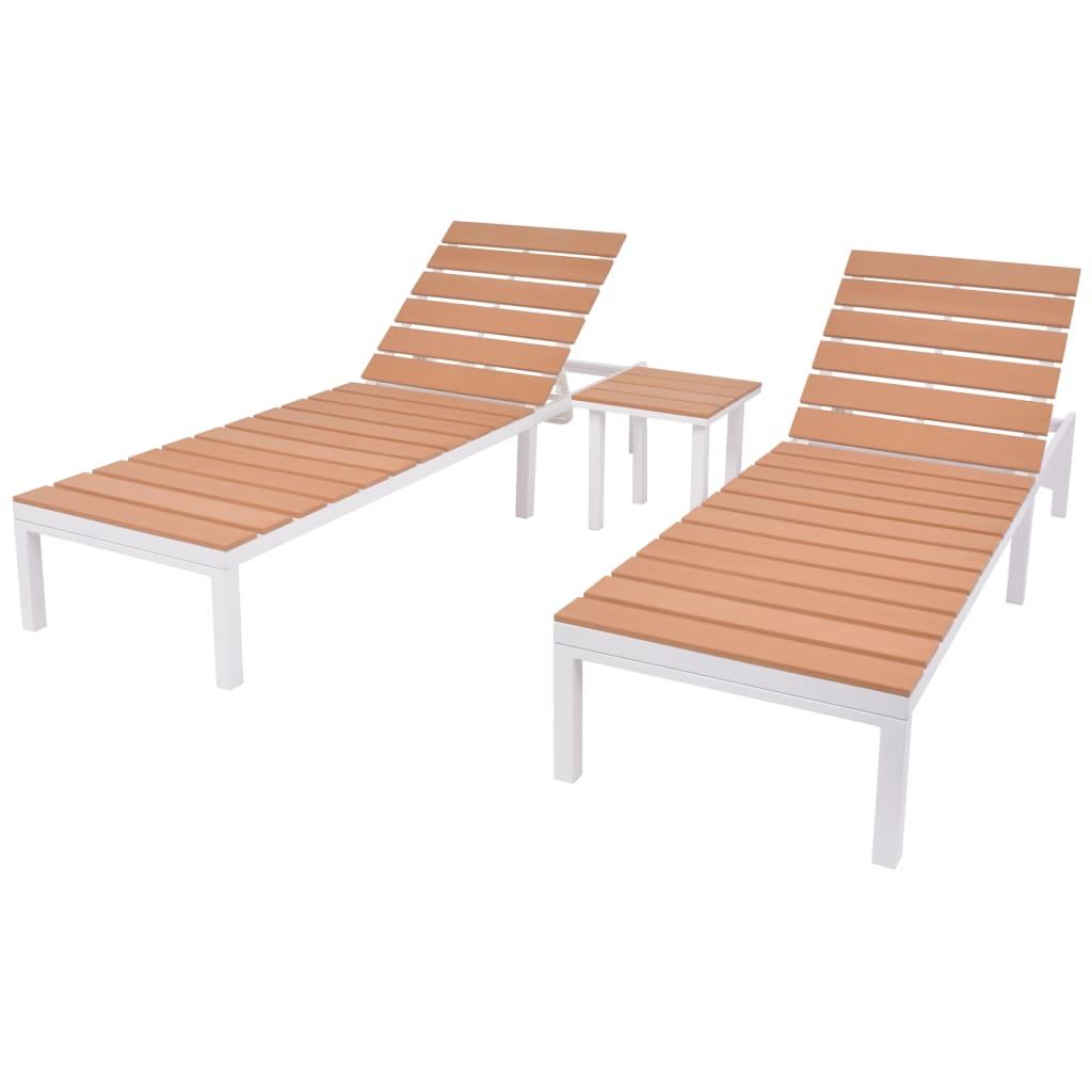 vidaXL Chaise longue 2 pcs avec table Aluminium et WPC Blanc et marron