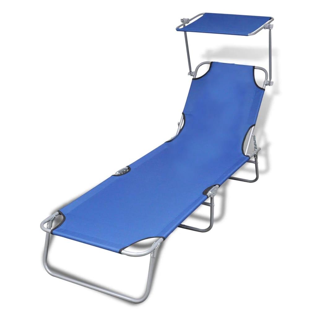 vidaXL Chaise longue pliable avec auvent Acier et tissu Bleu
