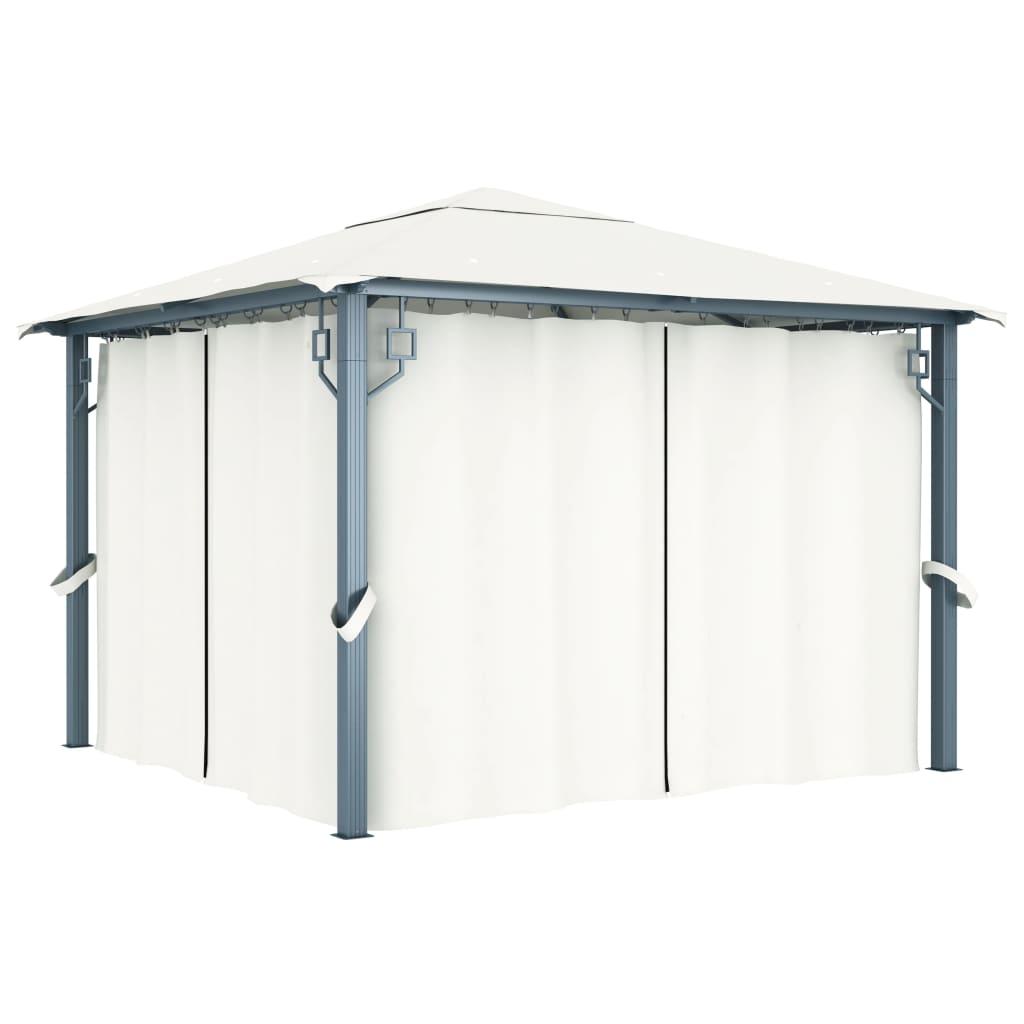 vidaXL Tonnelle avec rideau 300x300 cm Crème Aluminium
