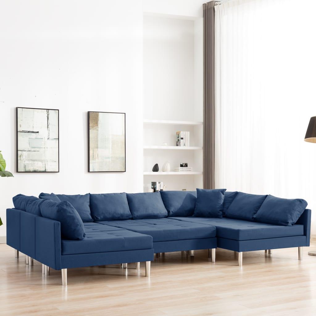 vidaXL Canapé sectionnel Tissu Bleu