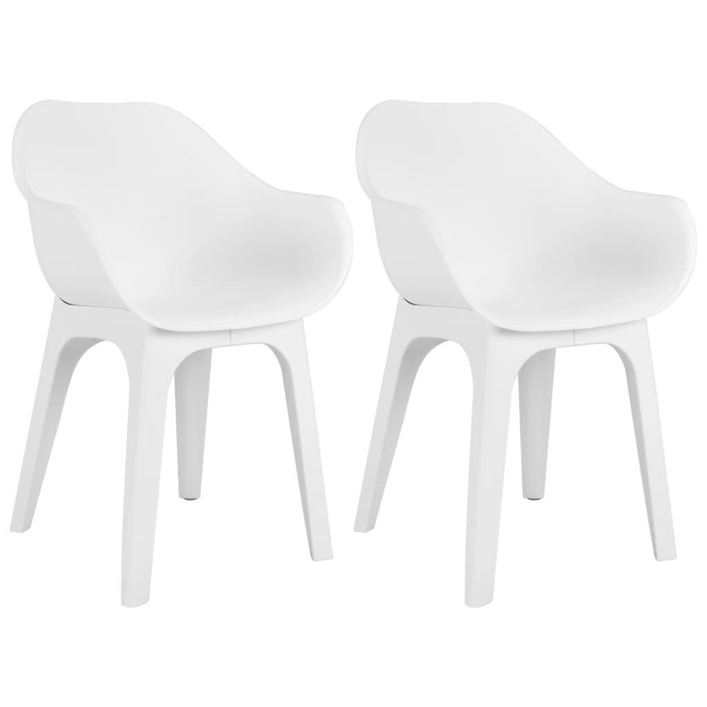 vidaXL Chaises de jardin avec accoudoirs 2 pcs Blanc Plastique