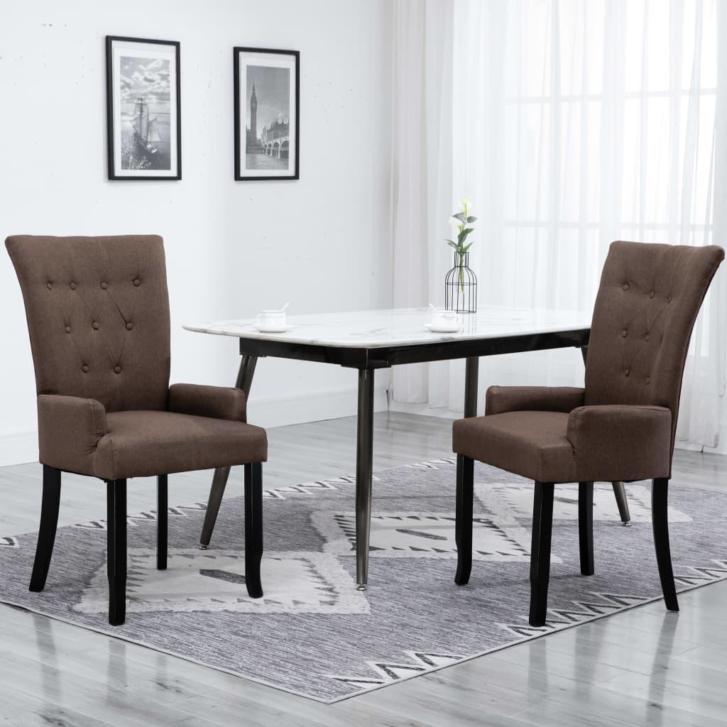vidaXL Chaise de salle à manger avec accoudoirs 2 pcs Marron Tissu