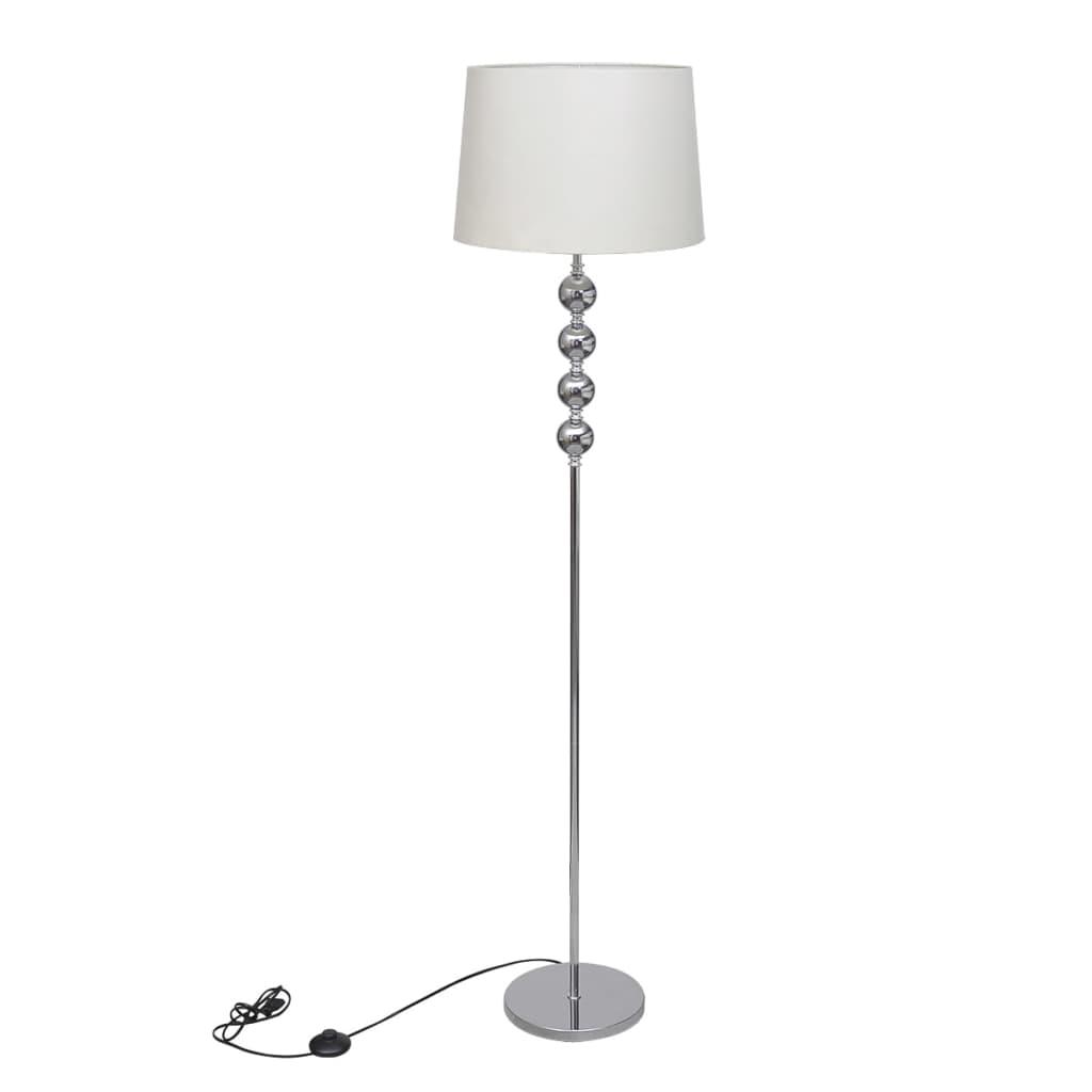 vidaXL Lampe de sol à long pied avec 4 boules de décoration Blanc