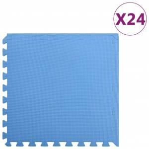 vidaXL Tapis de sol 24 pcs 8,64㎡ Mousse EVA Bleu