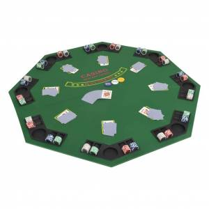 vidaXL Dessus de table de poker pour 8 joueurs 2 plis Octogonal Vert