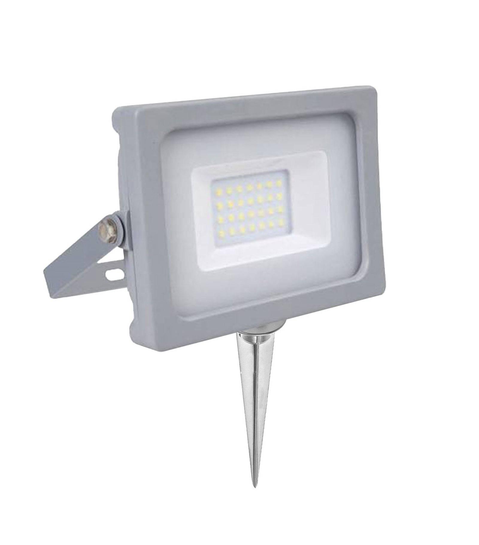 V-TAC Pack projecteur LED SMD 20W rendu 100W Blanc chaud 3000K+ Support à piquer Gris V-TAC