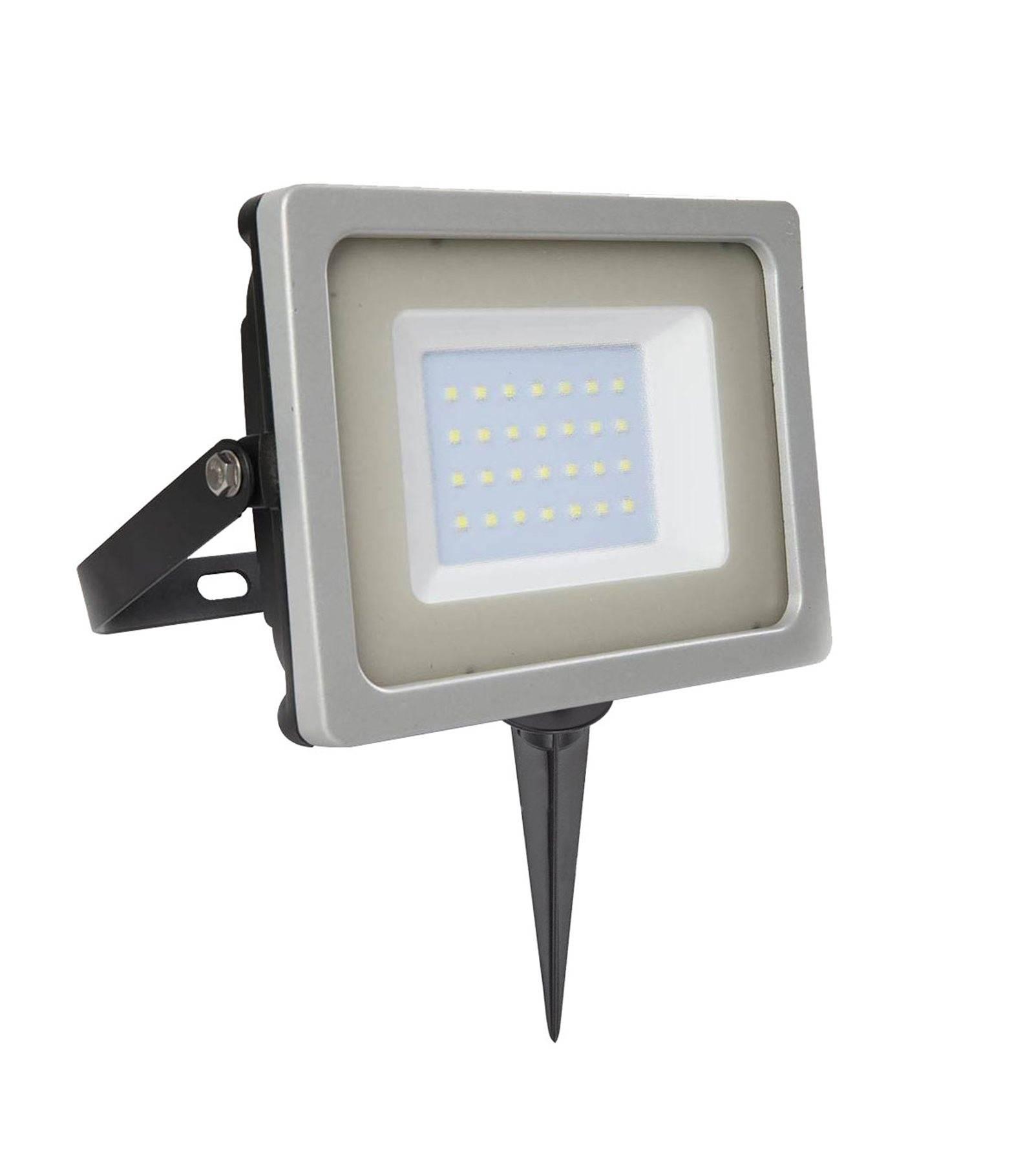 V-TAC Pack projecteur LED SMD 30W rendu 150W Blanc froid 6000K+ Support à piquer Noir V-TAC