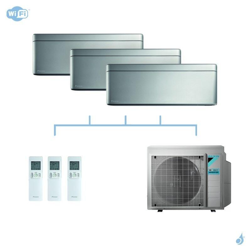 DAIKIN climatisation tri split mural gaz R32 Stylish Silver FTXA-AS 6kW WiFi FTXA20AS + FTXA25AS + FTXA25AS + 3MXM68N A++