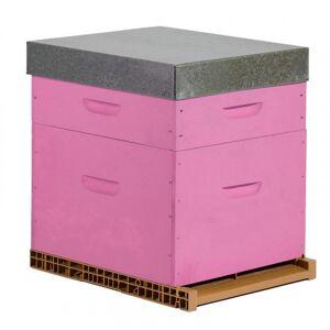 Lubéron Apiculture Ruche colorée Dadant 10 cadres avec hausse - Couleurs - Framboise