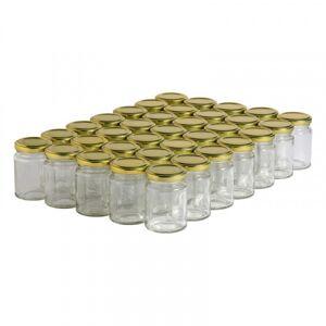 Lubéron Apiculture 35 pots verre droits 125g (106 ml) avec couvercles TO 48 - Couvercle - Doré