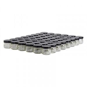 Lubéron Apiculture 48 pots verre 30g (32 ml) avec couvercle TO 43 - Couvercle - Noir
