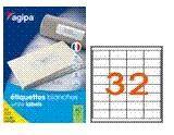 agipa 100634 étiquettes multiusages blanches 51x33.8 mm coins vifs - B. 100 pl. A4
