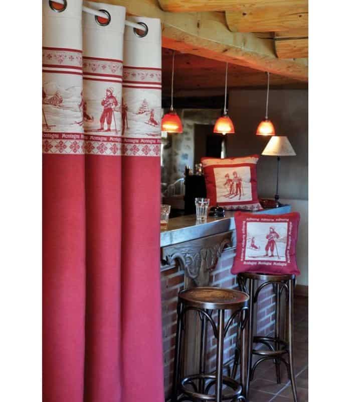 Rideau rouge et gris motif Skieur et Montagne - Rouge