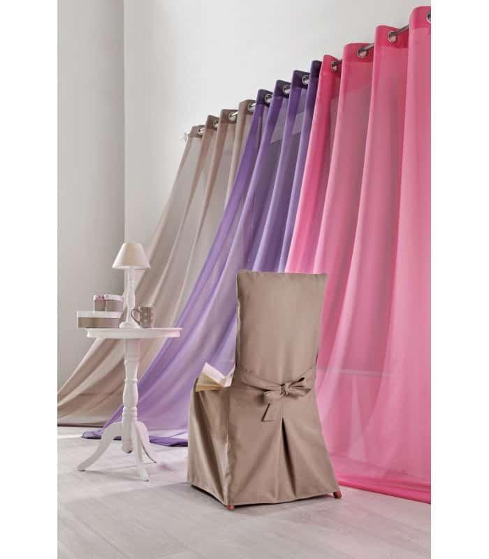Voilage rideau uni très belle couleur - Chocolat