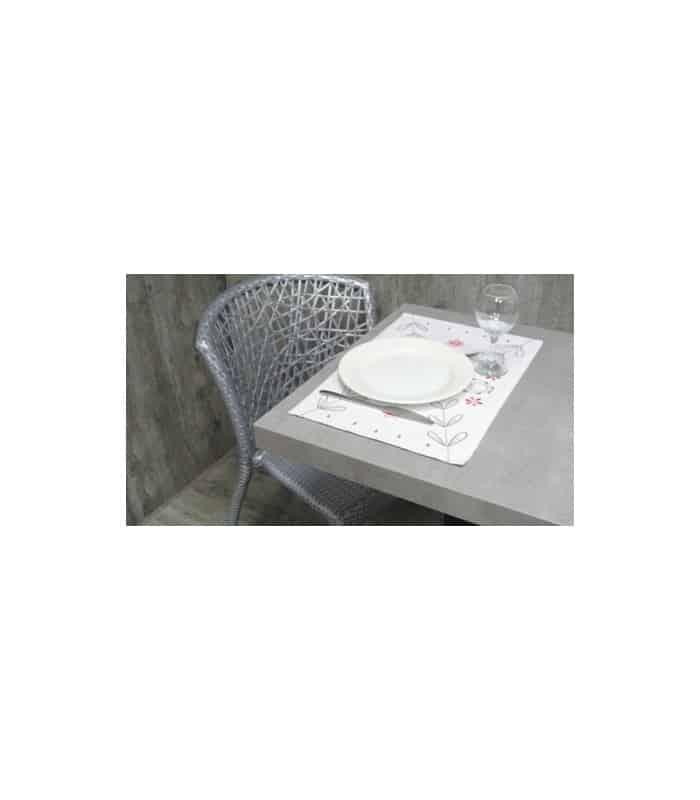 ART 2 Sets de table style liberty blanc brodé - Blanc