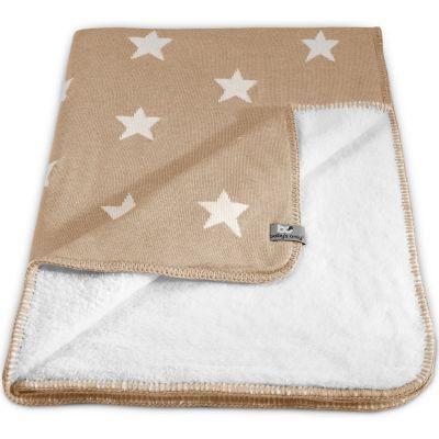 Couverture Star Soft beige et blanc (100 x 130 cm)