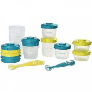 Pack 1er repas avec pots de conservation et cuillères néon bleu (14 pièces)