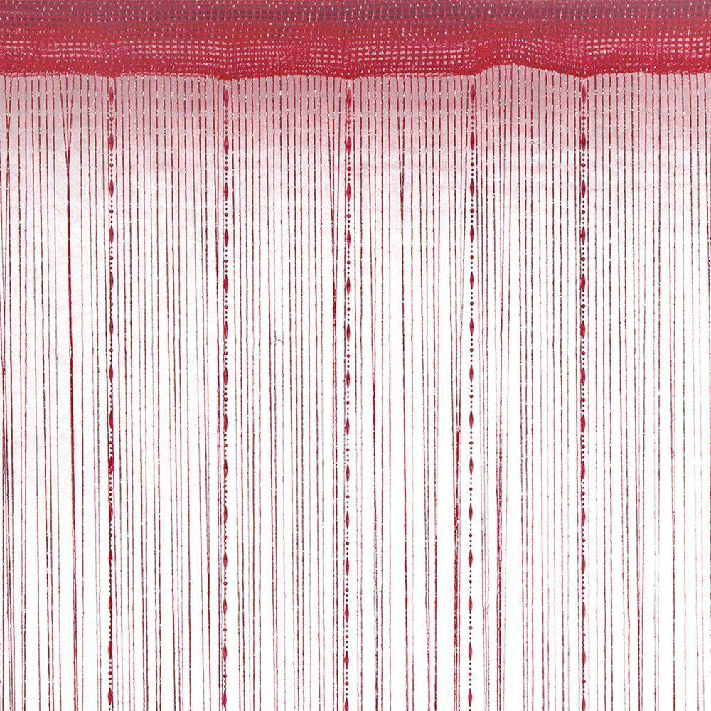 Rideau fils fantaisie brillant rouge polyester