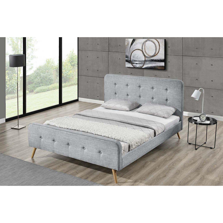 Lit Lanka - Cadre de lit scandinave gris clair avec pieds en bois - 160x200