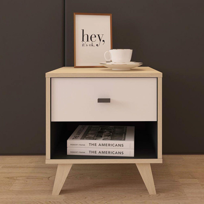 Keta - Table de chevet en bois naturel avec tiroir
