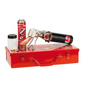EXPRESS Coffret métal fer à souder de couvreur autonome Piezo, fer, cartouche, flacon fluide et injecteur