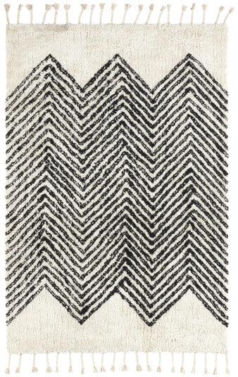 Tapis style Berbère avec franges - Arrow blanc cassé - 140 x 200 cm
