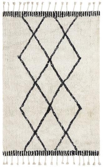 Tapis style Berbère avec franges - Tribal blanc cassé - 120 x 160 cm