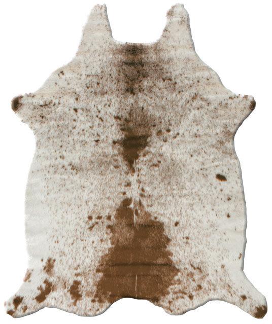 Tapis peau de bête - Imitation vache tachetée claire - Marron et blanc - 150 x 210 cm
