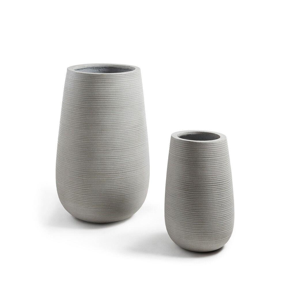 Lola - 2 cache-pots design ciment - Couleur - Gris