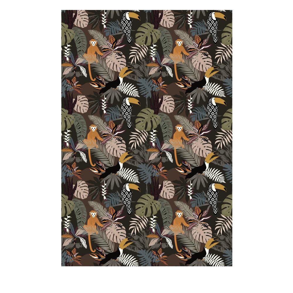 Pôdevache Oldeani - Tapis vinyle rectangle motif jungle - Couleur - Vert, Dimensions - 99x150cm