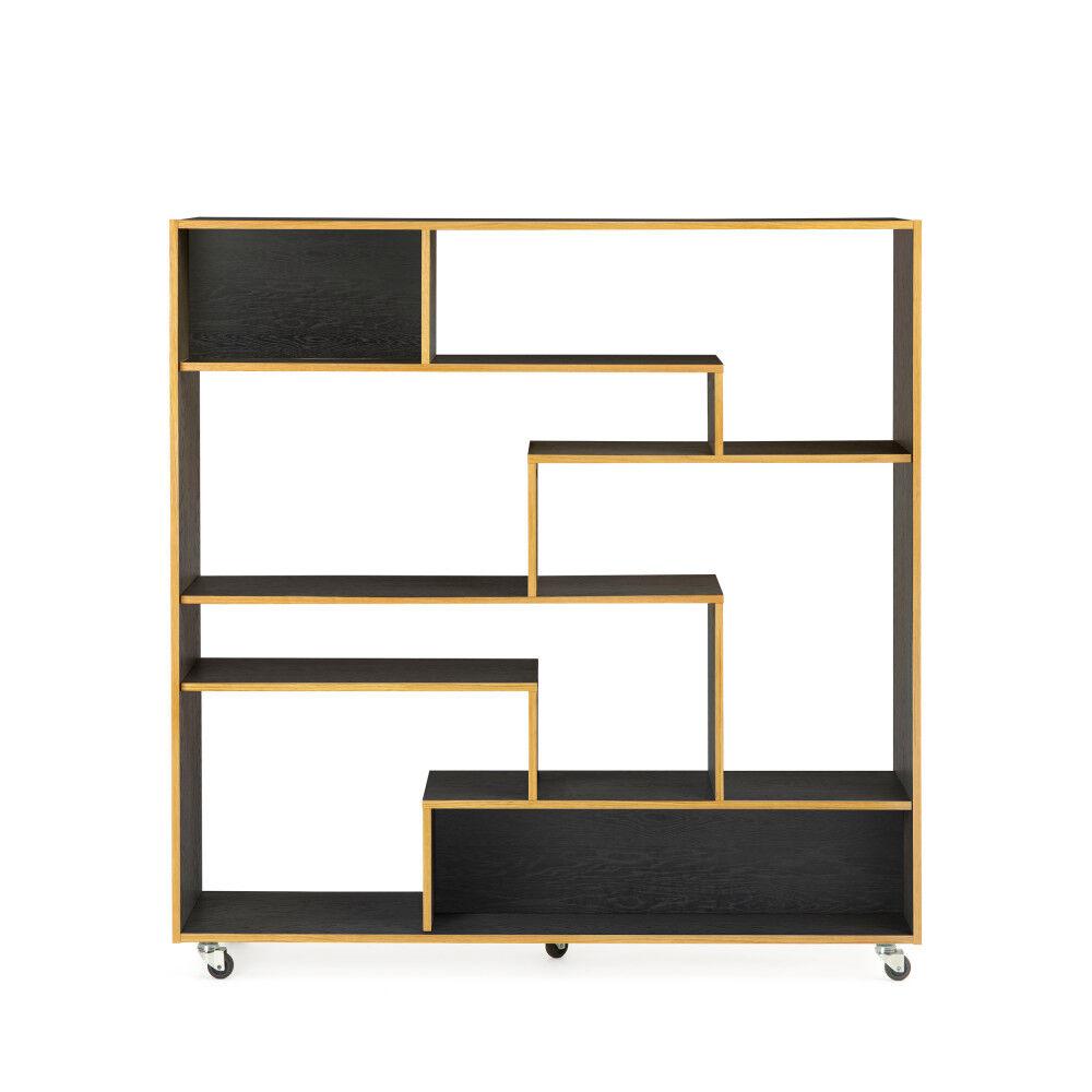 Woodman Southbury - Bibliothèque design graphique à roulettes - Couleur - Noir/Chêne