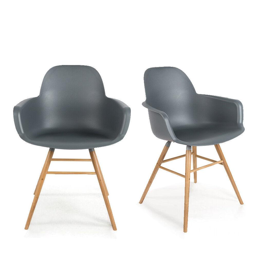 Zuiver Albert Kuip - 2 fauteuils de table en résine - Couleur - Gris anthracite