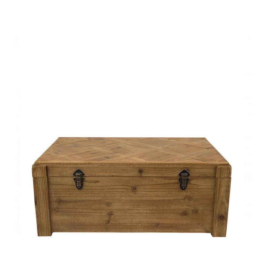 Dutchbone Lon - Malle de rangement vintage en sapin - Couleur - Naturel