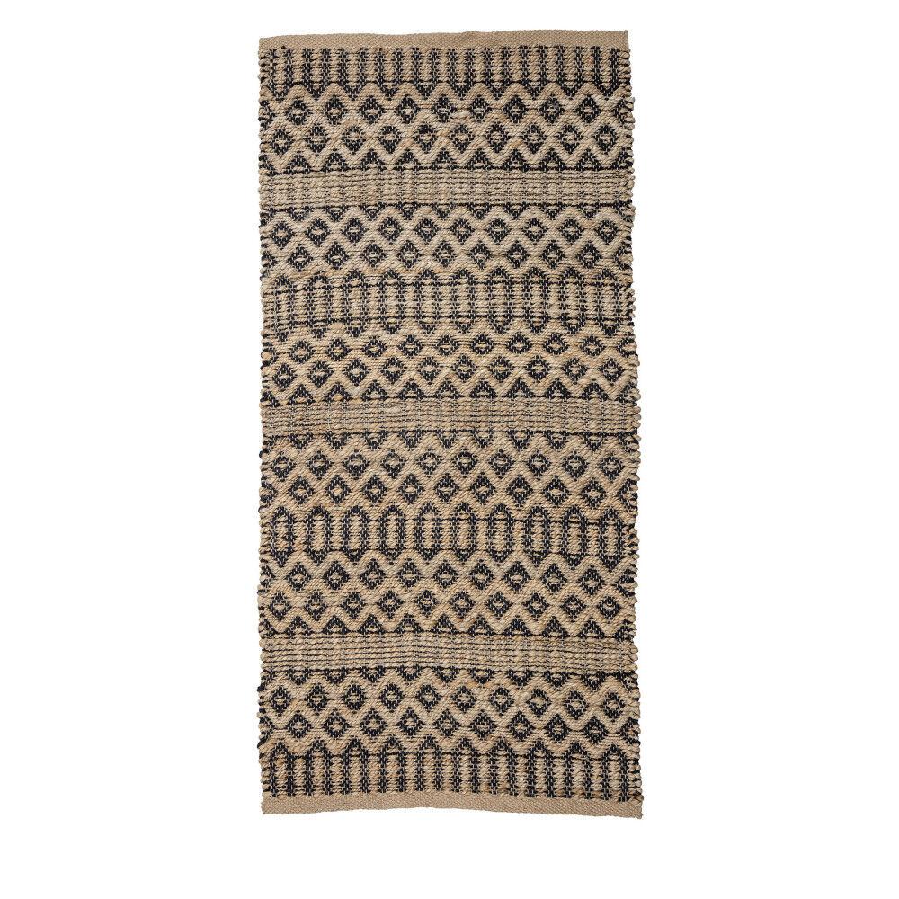 Bloomingville Khajwana - Tapis de couloir en Jute 140x70cm - Couleur - Beige / noir, Dimensions - 140x70 cm