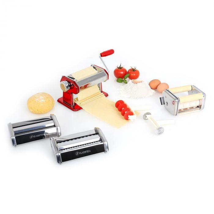 Klarstein Siena Rossa Pasta Maker Machine à pâtes 3 accessoires acier rouge