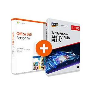Microsoft Pack Office 365 Personnel + Bitdefender Antivirus Plus 2020 - 1 PC - 1 an