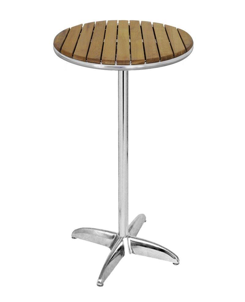 E-xtra TRA-F5R242 Table haute mange debout diam 60 cm bois teck