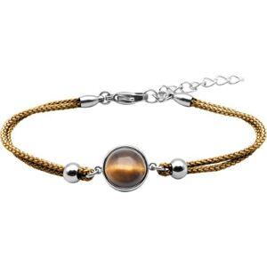 Bijoux Bracelet Coton Cabochon Oeil de Tigre - LABISE